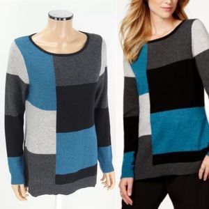 Charter Club Luxury Cashmere Color Block Sweater